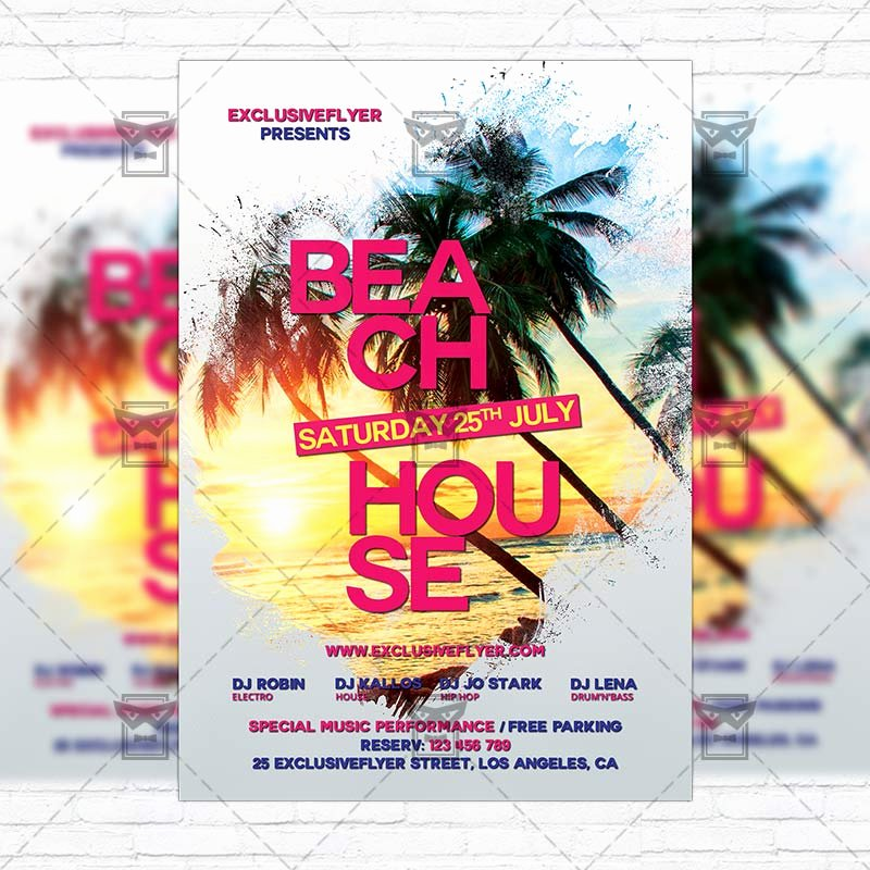 House Party Flyer Template Beautiful Beach House Party – Premium Flyer Template Instagram