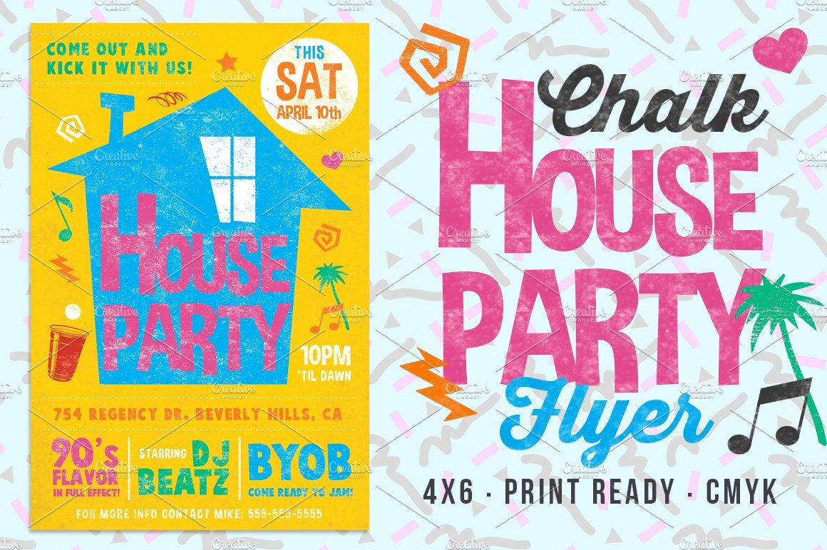 House Party Flyer Template Best Of Chalk House Party 90 S Retro Flyer Flyer Templates