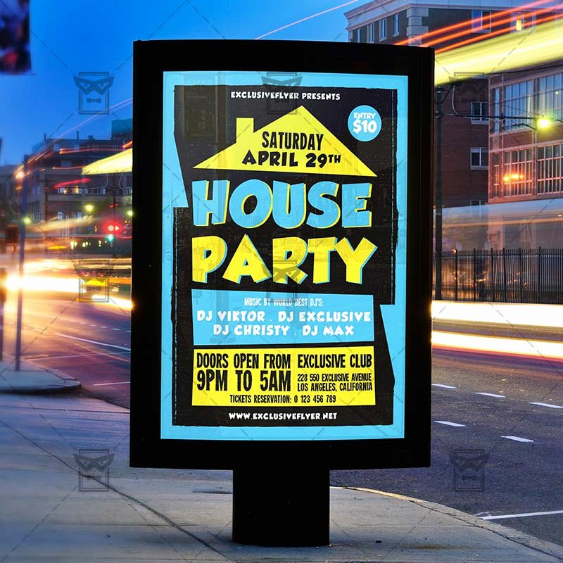 House Party Flyer Template New House Party – Club A5 Flyer Template