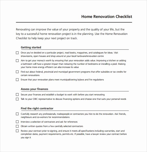 House Renovation Checklist Template Awesome 10 Renovation Checklist Templates to Download
