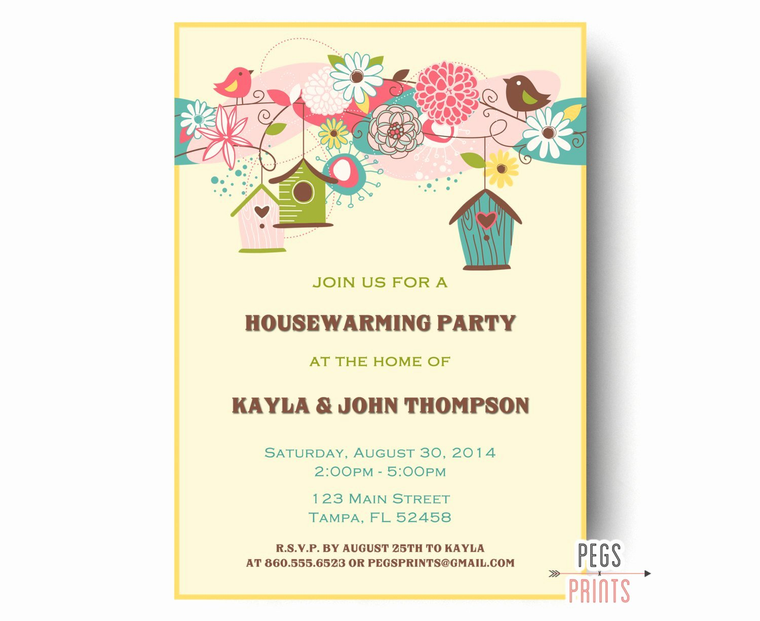 Housewarming Invitation Template Free Lovely Birdhouse Housewarming Party Invitation Bird Housewarming