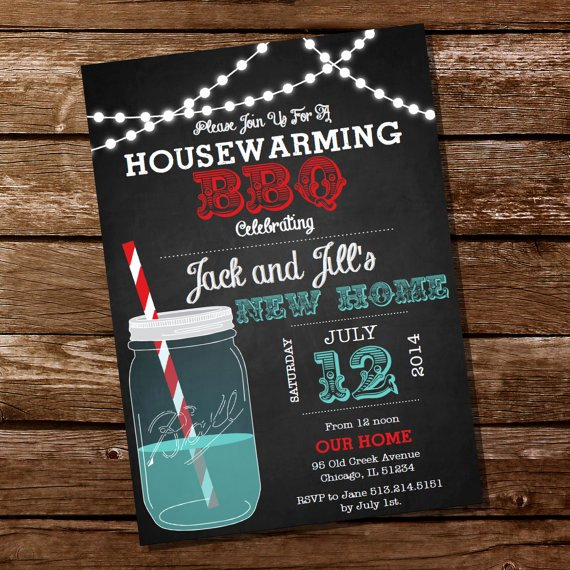 Housewarming Party Invitations Template Luxury Chalkboard Housewarming Bbq Invitation Housewarming Party