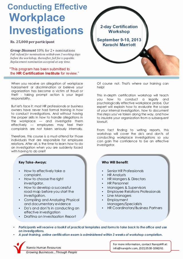 Hr Investigation Report Template New Conducting Effective Workplace Investigation Workshop