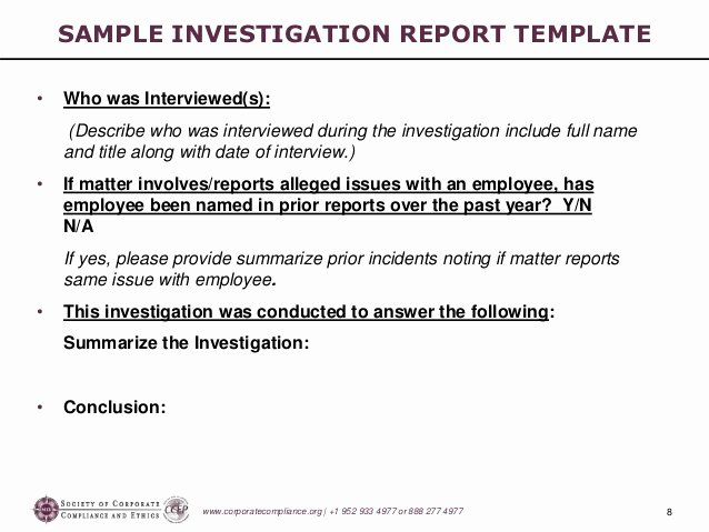 Hr Investigation Report Template Unique [p14 B ] Investigations Workshop Part 5 Preparing the