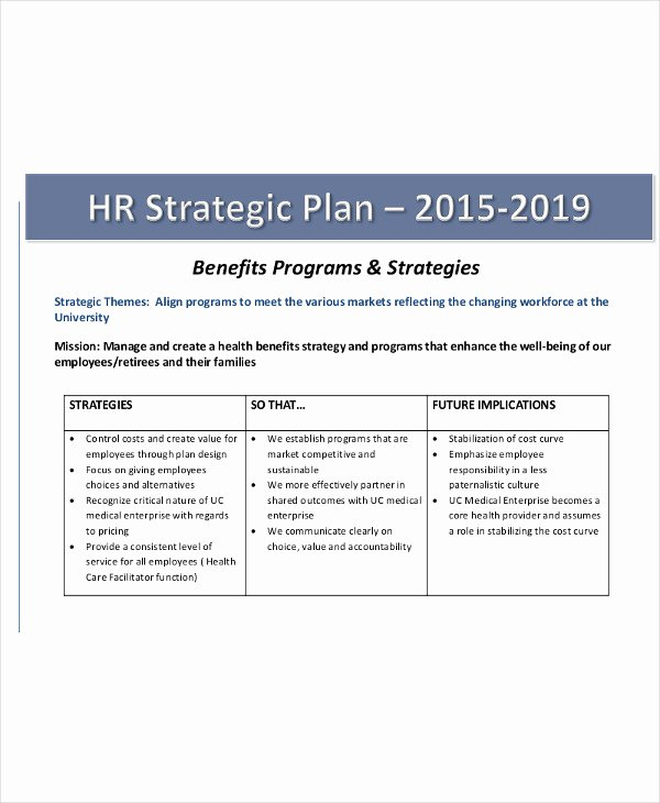 Hr Strategic Plan Template Beautiful 40 Strategic Plan Templates