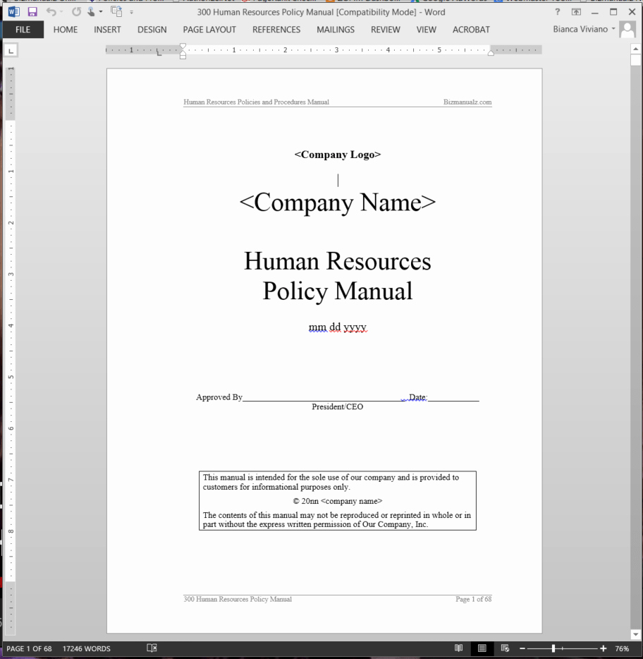 Human Resource Manual Template Luxury Human Resources Policy Manual
