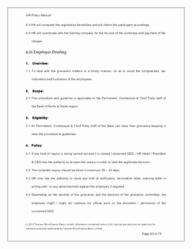 Human Resource Manual Template Luxury Policy Manual Template Hr Policy Manual Example