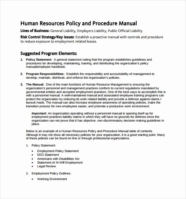 Human Resource Policy Template Best Of 7 Hr Manual Templates to Download