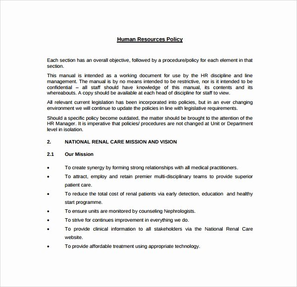 Human Resource Policy Template Fresh 7 Hr Manual Templates to Download