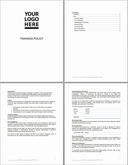 Human Resource Policy Template Unique Training Policy Template Document Redtapedoc