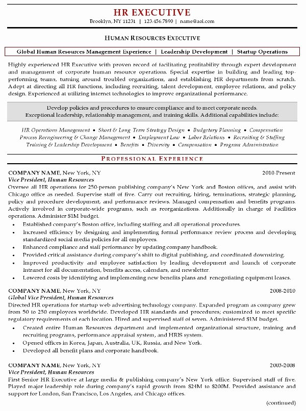 Human Resource Resume Template Awesome Resume Sample 20 Human Resources Executive Resume