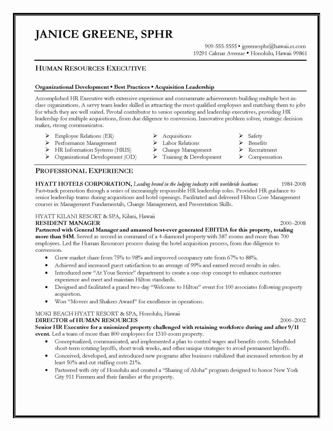 Human Resource Resume Template Awesome Resume Samples Elite Resume Writing