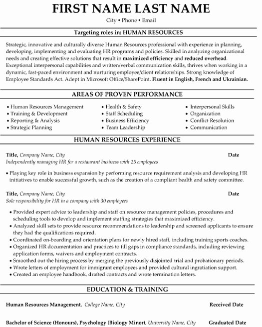 Human Resource Resume Template Awesome top Human Resources Resume Templates & Samples