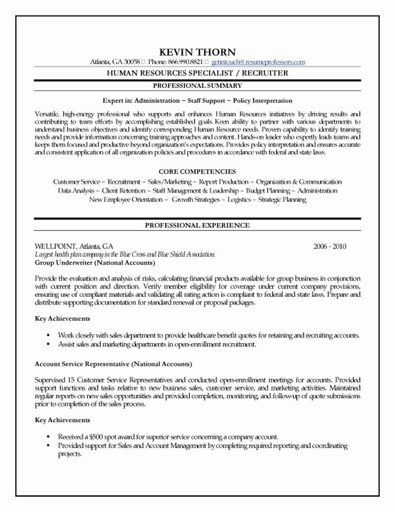 Human Resource Resume Template Elegant Human Resources Specialist Resume