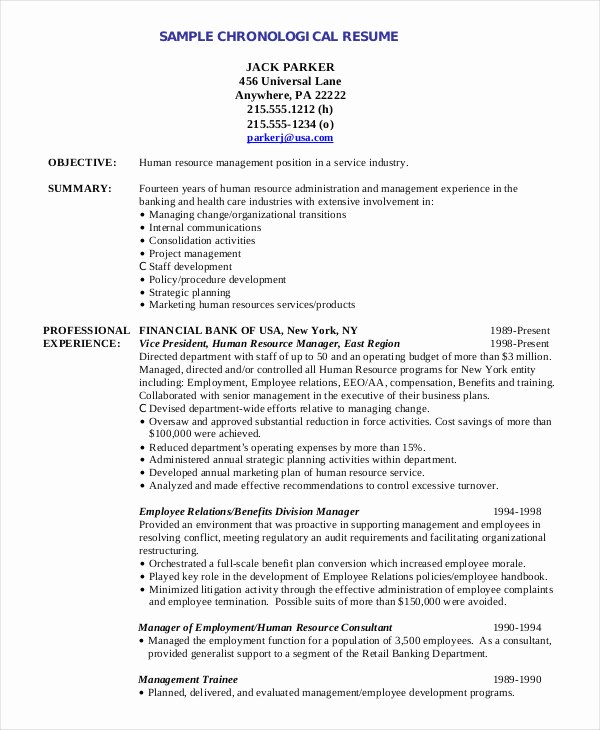 Human Resource Resume Template Fresh Chronological Resume Template 28 Free Word Pdf