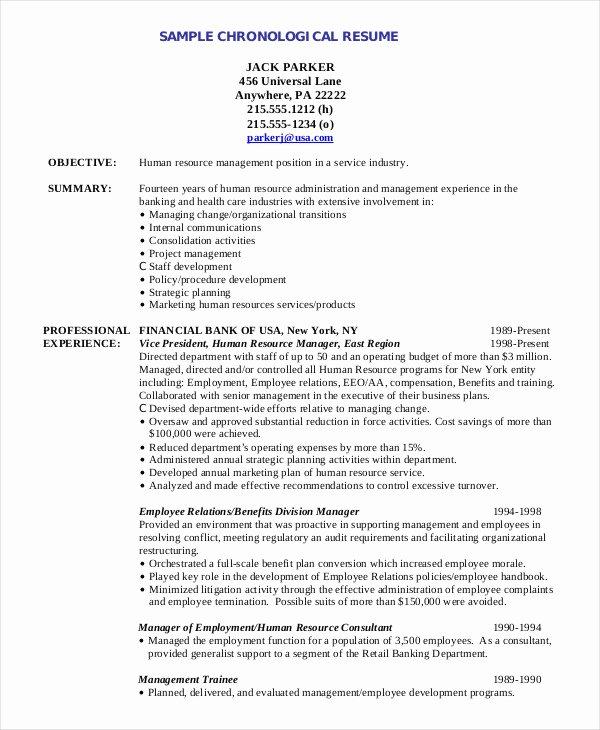 Human Resource Resume Template Fresh Chronological Resume Template 28 Free Word Pdf