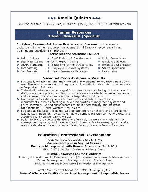 Human Resource Resume Template Fresh Sample Human Resources Resume