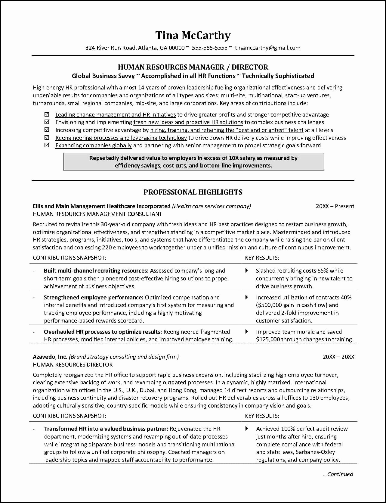 Human Resource Resume Template Luxury Powerful Human Resources Resume Example