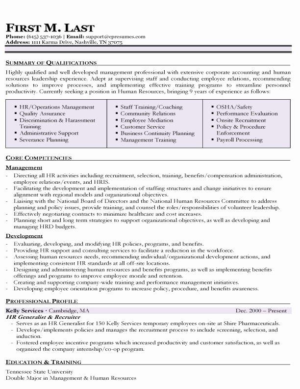 Human Resource Resume Template Luxury Resume Samples
