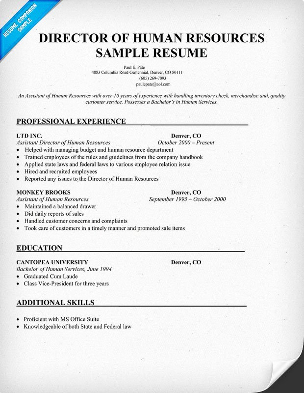 Human Resource Resume Template New Human Resources Management January 2016