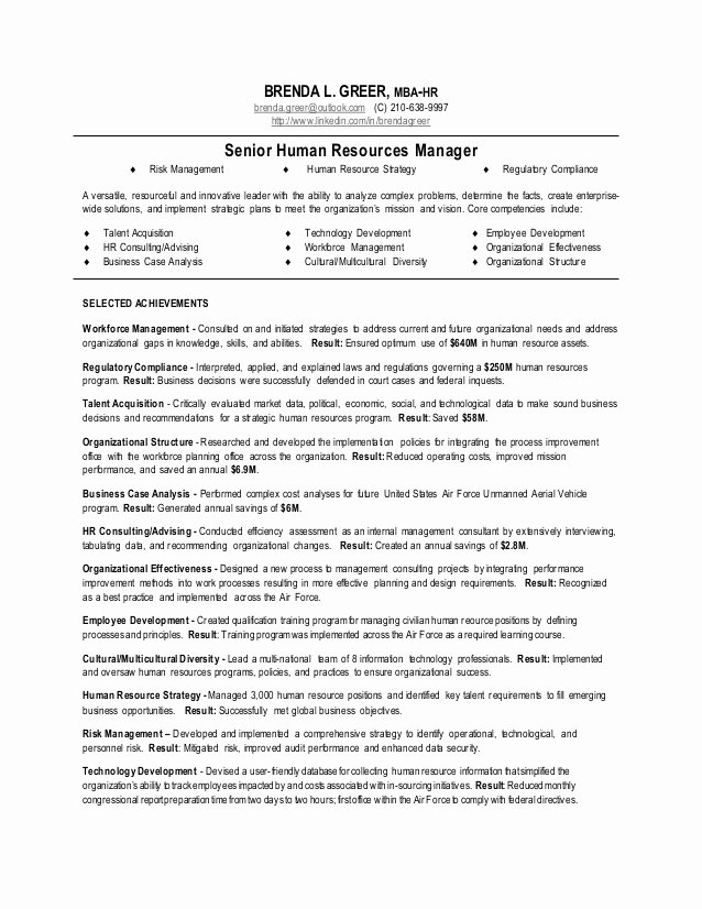 Human Resource Resume Template New Senior Human Resources Manager Resume
