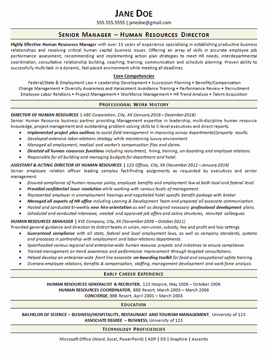 Human Resource Resume Template New View Human Resources Manager Resume Example
