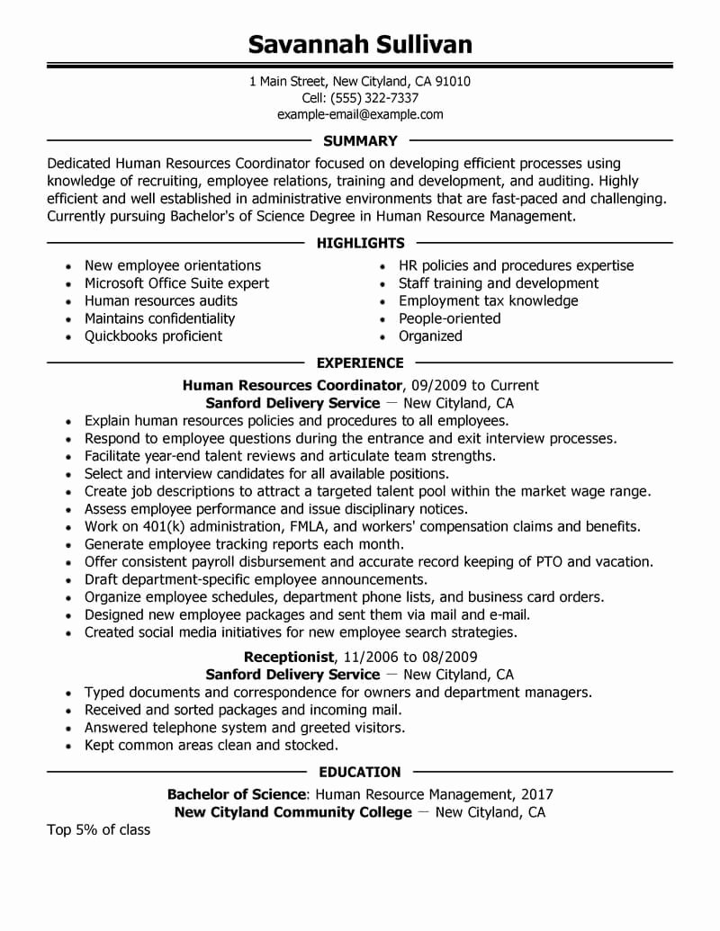 Human Resource Resume Template Unique Best Hr Coordinator Resume Example