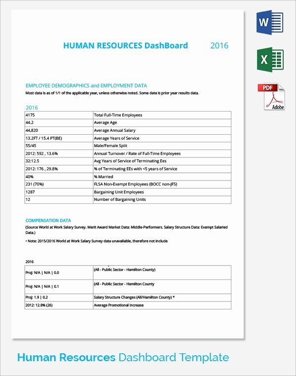 Human Resources Dashboard Template Unique 9 Sample Hr Dashboards