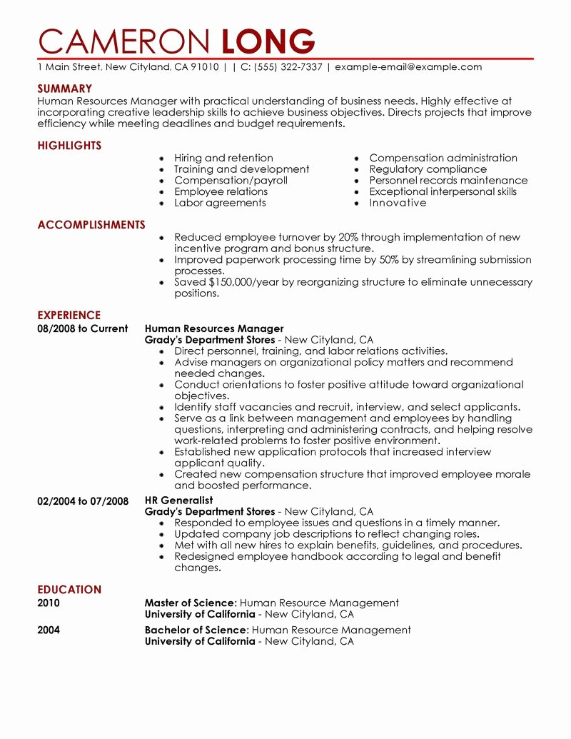 Human Resources Resume Template Beautiful Best Human Resources Manager Resume Example