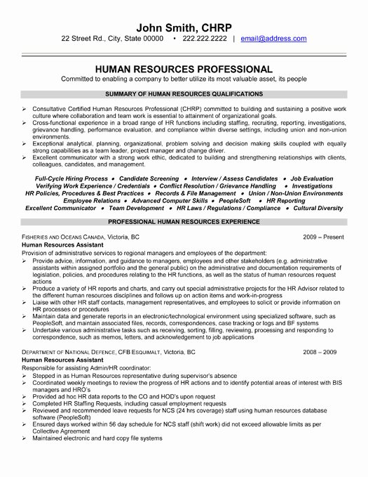 Human Resources Resume Template Best Of top Human Resources Resume Templates & Samples