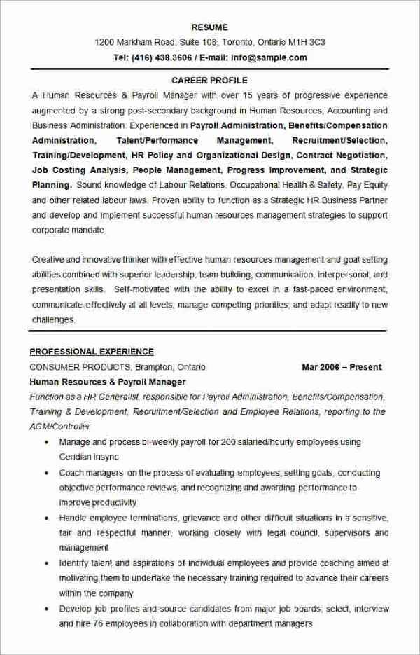 Human Resources Resume Template Elegant 49 Best Resume formats Pdf Doc