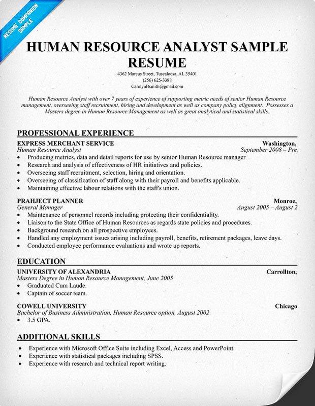 Human Resources Resume Template Elegant Resume format Resume Template Human Resources