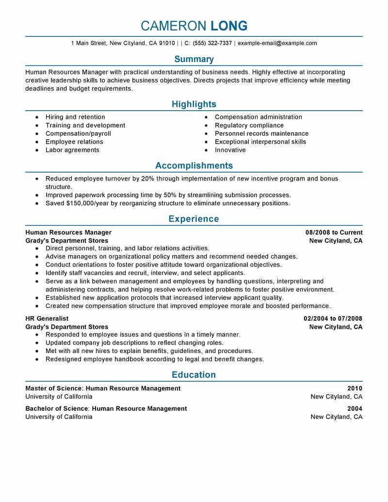 Human Resources Resume Template Fresh 7 Amazing Human Resources Resume Examples