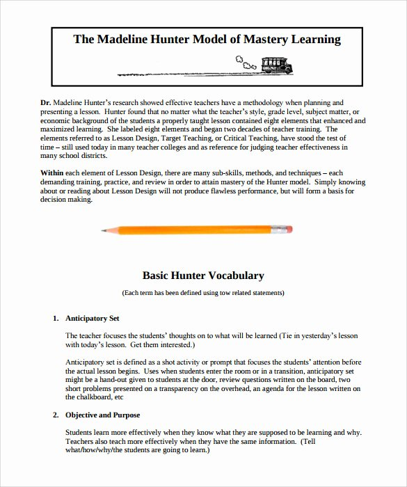 Hunter Lesson Plan Template Beautiful 12 Sample Madeline Hunter Lesson Plans