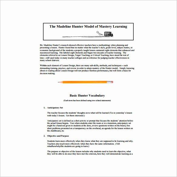 Hunter Lesson Plan Template Elegant 5 Madeline Hunter Lesson Plan Templates Doc Excel Pdf