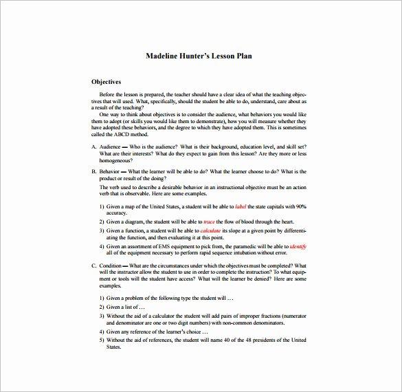 Hunter Lesson Plan Template Fresh 5 Madeline Hunter Lesson Plan Templates Doc Excel Pdf