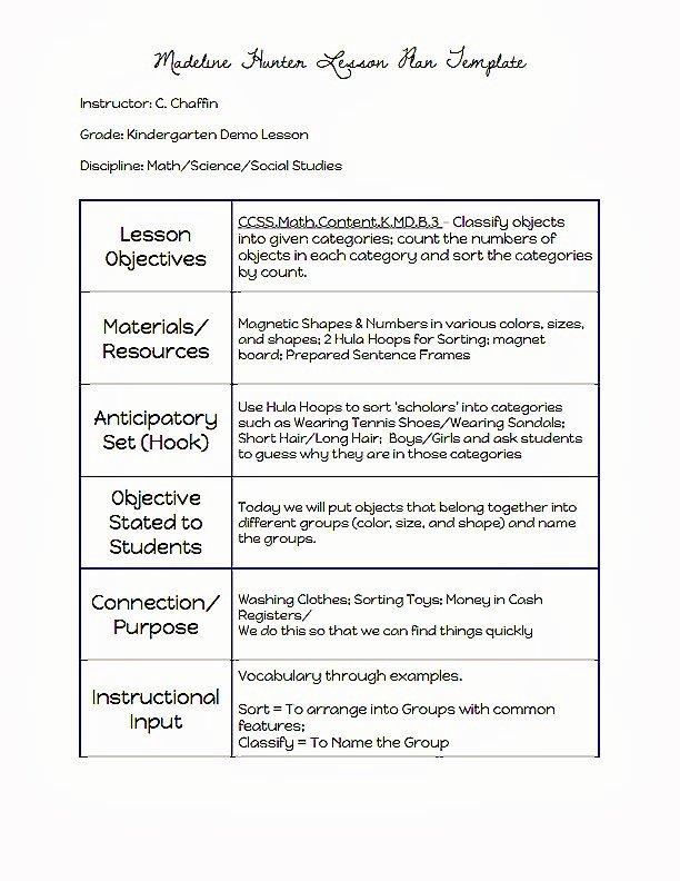 Hunter Lesson Plan Template Fresh Madeline Hunter Lesson Plan Template
