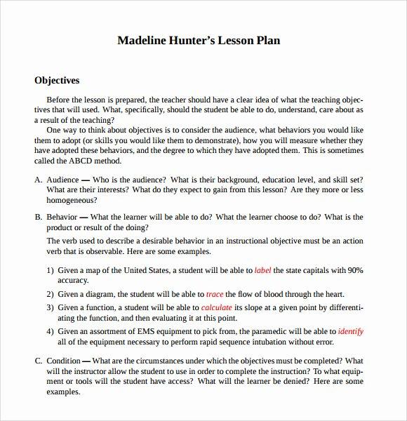 Hunter Lesson Plan Template Lovely 9 Madeline Hunter Lesson Plan Templates Download for Free