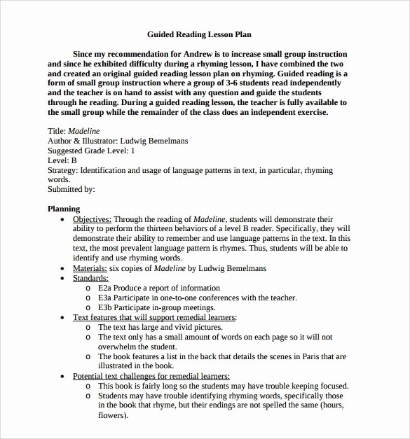 Hunter Lesson Plan Template Luxury 10 Sample Guided Reading Lesson Plans