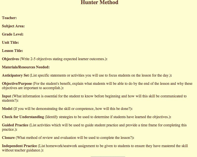 Hunter Lesson Plan Template Luxury Madeline Hunter Lesson Plan Example