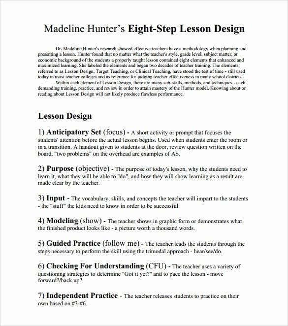 Hunter Lesson Plan Template Unique 12 Sample Madeline Hunter Lesson Plans