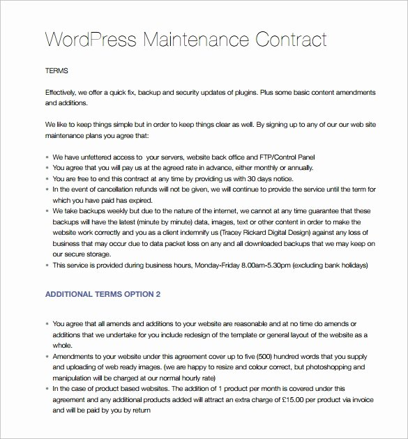 Hvac Maintenance Agreement Template Awesome 14 Maintenance Contract Templates to Download for Free
