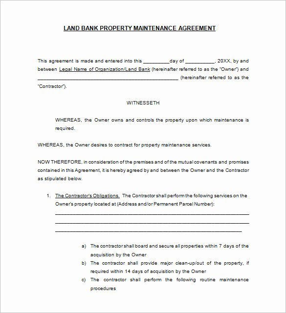 Hvac Maintenance Agreement Template Elegant 20 Maintenance Contract Templates Docs Word Pages