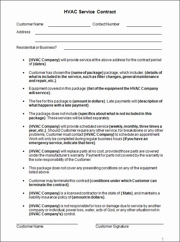 Hvac Maintenance Agreement Template Elegant Hvac Installation Contract Template 28 Images Hvac