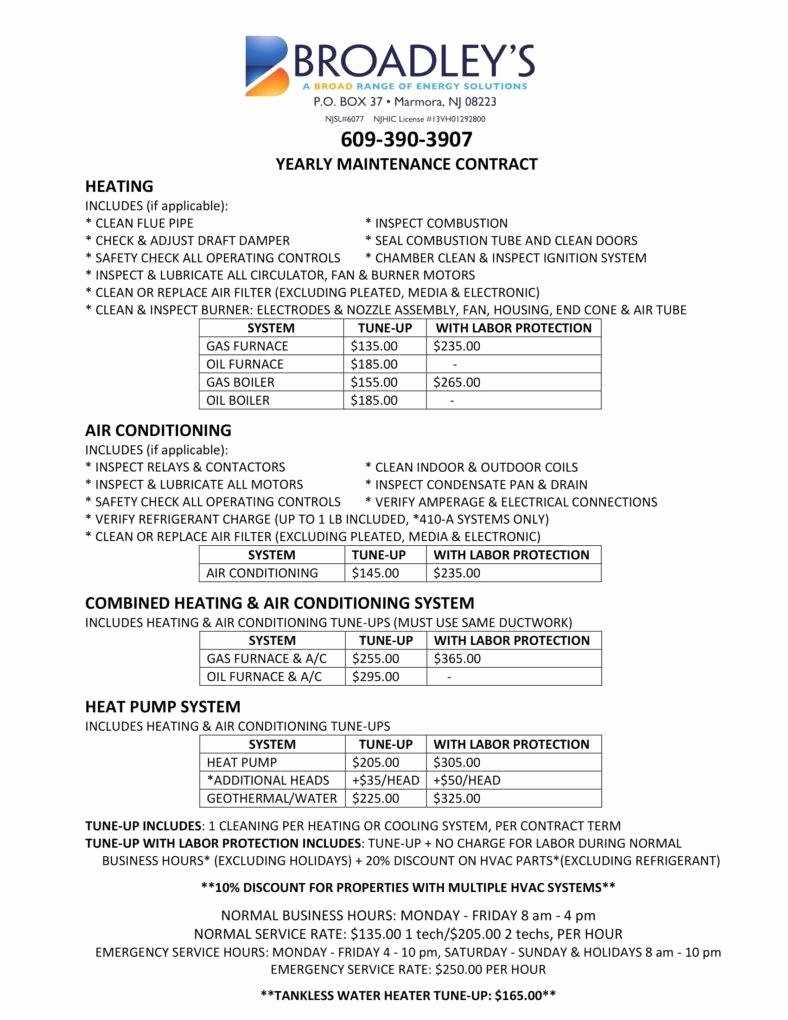 Hvac Maintenance Agreement Template Fresh 7 Hvac Contract Templates for Services Pdf