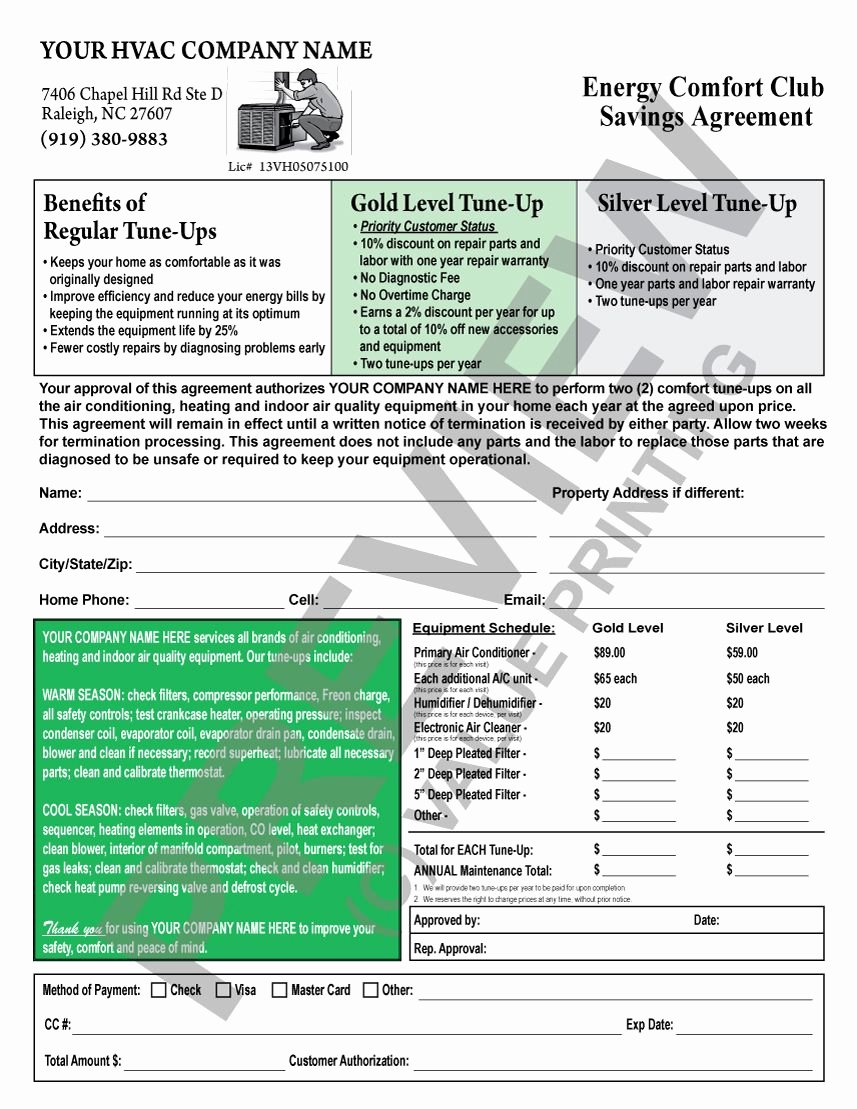 Hvac Maintenance Agreement Template Inspirational This Hvac Maintenance Contract Has A Backside Terms and