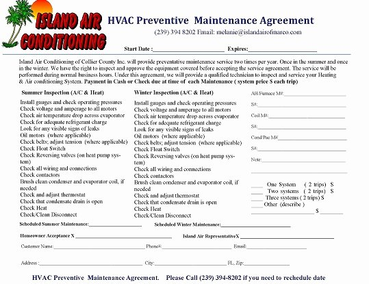 Hvac Maintenance Agreement Template Lovely Preventive Maintenance island Air