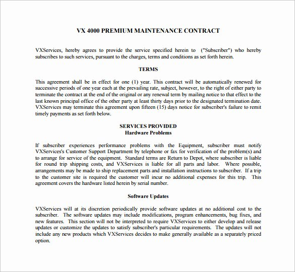 Hvac Maintenance Agreement Template Unique 14 Maintenance Contract Templates to Download for Free