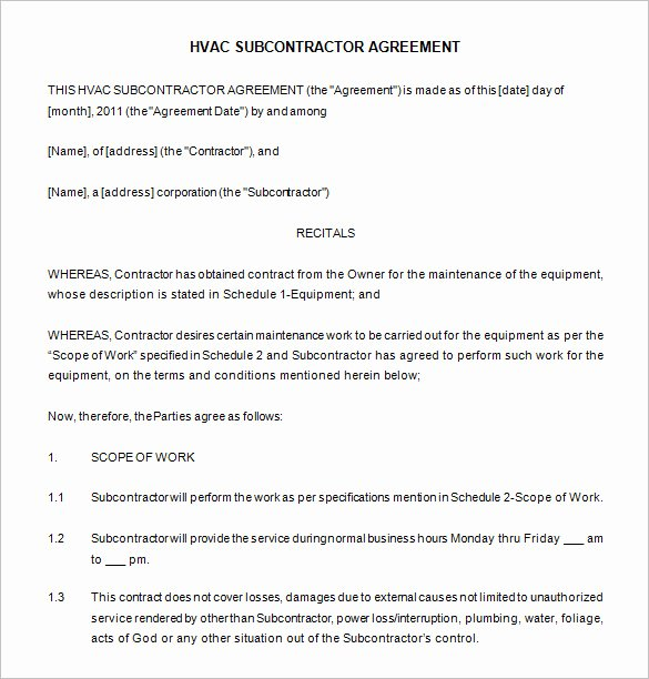 Hvac Maintenance Agreement Template Unique 20 Maintenance Contract Templates Docs Word Pages