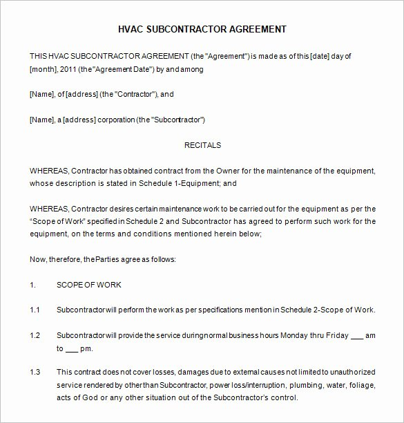 Hvac Maintenance Agreement Template Unique Mercial Hvac Maintenance Contract Template Templates